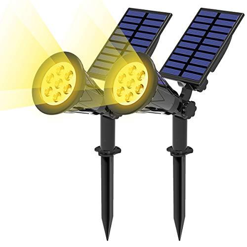 T-SUN (2 Unidades Foco Solar, Lámparas Solar Luces Exterior 7LED Luz de Jardín Focos Impermeable, 3000K Blanco Cálido, Apliques de Pared Solar con 10 Horas para Jardín Patio Camino.