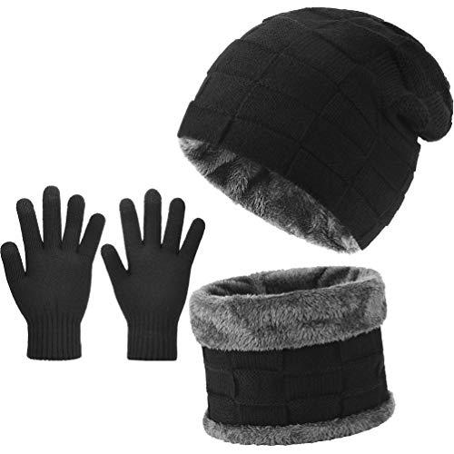 VBIGER Herren Damen Mütze Schal und Touchscreen Handschuhe Set Wintermütze Strickmütze Schlauchschal Winterhandschuhe, Schwarz