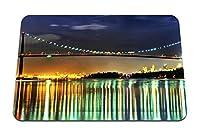 22cmx18cm マウスパッド (橋夜景反射光) パターンカスタムの マウスパッド