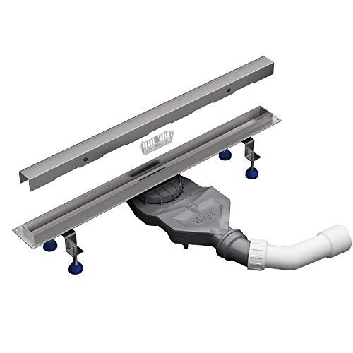 Aquabad® Edelstahl Duschrinne - SDS Slim Pro | Länge 80 cm | Komplett Set inkl. Abdeckung