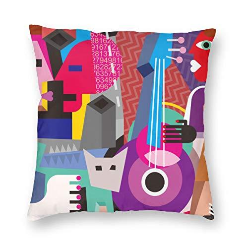 LiBei Kissenbezug Picasso das tanzende Paar und die Frau, die Gitarre Spielen Fine Dance Abstract Cubism Home Decor Sofa Werfen Kissenbezüge Pillowcases 50x50cm