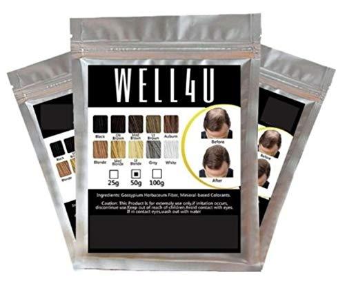 WELL4U Haarfüller, auch bekannt als Schütthaar, Streuhaar, Hairfibers, Haarfasern, Haarpulver, Haarverdichtung, Haarpuder, Haarauffüller, Haare aus der Dose usw- hier (50g, dunkelbraun)