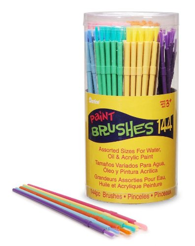 Darice Cannister D880018 Kids Brushes 144-Piece Canister, 1-Pack, None