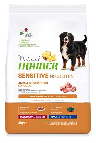 Trainer Natural Sensitive No Gluten - Pienso para Perros Medium-Maxi Adult con Cerdo y Cereales Integrales - 3kg ✅
