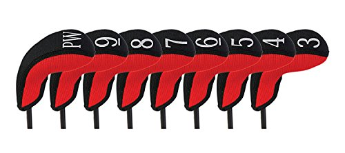 Stealth Club Covers 18040 Hybrid Set 3-PW Golf Club Head Cover (8-Piece), Red/Black