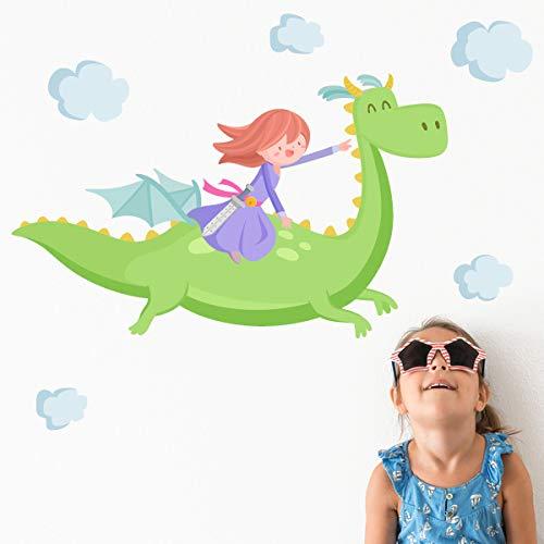 Princesa y dragón verde - Vinilos infantiles para niñas -60x35 cm- T0- Basico, DERECHA del que mira