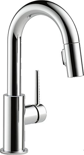 DELTA Trinsic Single-Handle Bar-Prep Kitchen Sink Faucet with Pull Down Sprayer and Magnetic Docking Spray Head, Chrome 9959-DST