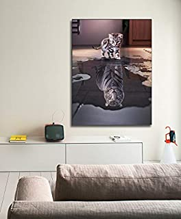 Canvas Print Wall Art Animal cat Cute Kitten Reflection Handsome Tiger Picture Art Print Poster Office Bedroom Cafe Decoration with Frame (36