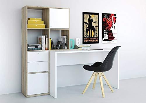 Scrivania con libreria Legno e Bianco 170x60x151cm Esidra