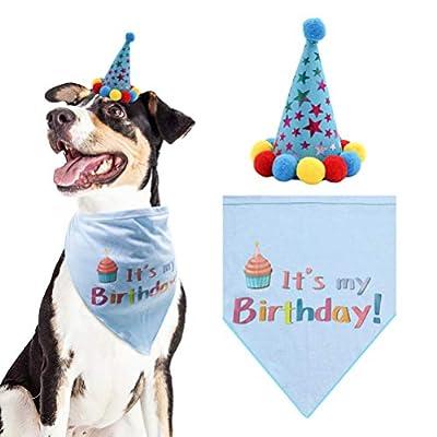 PUPTECK Dog Birthday Bandana Scarfs with Cute Doggie Birthday Party Hat