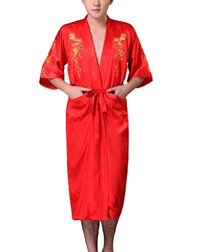 JTC Homme Robe/Vêtement de Nuit Kimono Bordé de Dragon Avec Ceinture -4 Couleurs (orange)