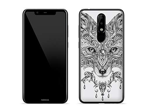 etuo Handyhülle für Nokia 5.1 Plus - Hülle Fantastic Hülle - Ethno Fuchs - Handyhülle Schutzhülle Etui Hülle Cover Tasche für Handy