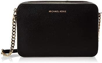 Michael Kors Women's Jet Set Crossbody Leather Bag, Black, Large