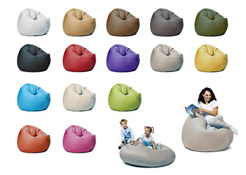 sunnypillow XL Sitzsack mit Füllung 100 cm Durchmesser 2-in-1 Funktionen zum Sitzen und Liegen Outdoor & Indoor für Kinder & Erwachsene viele Farben und Größen zur Auswahl Grau