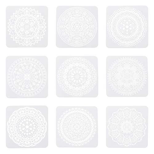 SUPERFINDINGS - Plantilla de Escala de Pintura en Aerosol Reutilizable con patrón de Flor de Mandala de 8 Pulgadas, Color Blanco
