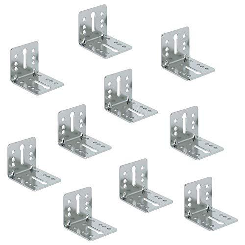 Gedotec Schraubwinkel montieren Montagewinkel nachrüsten Schlüssellochstanzung aus Metall | Bettwinkel 55 x 45 x 50 mm vernickelt | Stahl vernickelt | 10 Stück - Winkelverbinder für Betten & Möbel