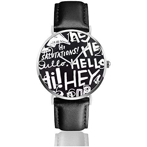 Montre-Bracelet l'art du Papier Peint Noir et Blanc Classique Quartz Casual Watch Business Watches