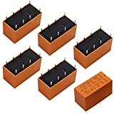 Tnisesm/6pcs Coil DPDT PCB Power Relay DC 12V 8 Pins Mini Power Relay PCB Relay HK19F-8P-12V