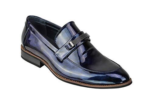 Charol Inteligente de los Hombres de los Holgazanes Forrado Brillantes Resbalón de la Oficina Formal Vestido de Novia Brillante Zapatos [Y2181M-BLUE-43]