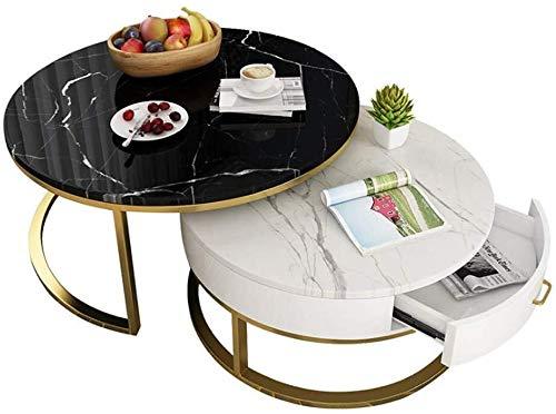 Sala de mesa de cafe redonda Elegante mesa de cafe mesa de te |2 piezas |con cajones de almacenamiento de madera y Plataforma |Couch moderno Mesita Fin de la sala de estar |Marmol marco de metal de or