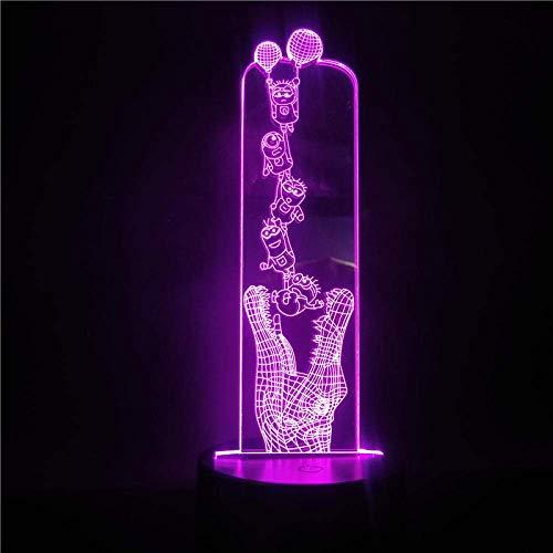 Lámpara De Ilusión 3D Luz De Noche Led Lámpara De Mesa Para Niños Para Niños Minions Y Cocodrilo Para El Hogar Dormitorio Decoartion Regalo