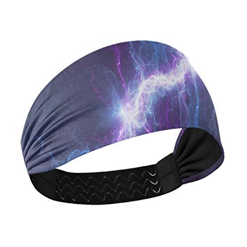 Diademas atléticas Blue Purple Lightning Diademas gruesas abstractas eléctricas con correas elásticas...