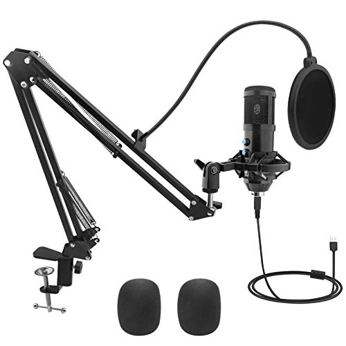 USB Condenser Mic Kit, VEIPAO 192kHZ/24bit USB Microphone Kit with Professional Sound Chipset, Adjustable Boom Arm Set, Studio Cardioid Mic for Broadcasting Recording Gaming Podcasting