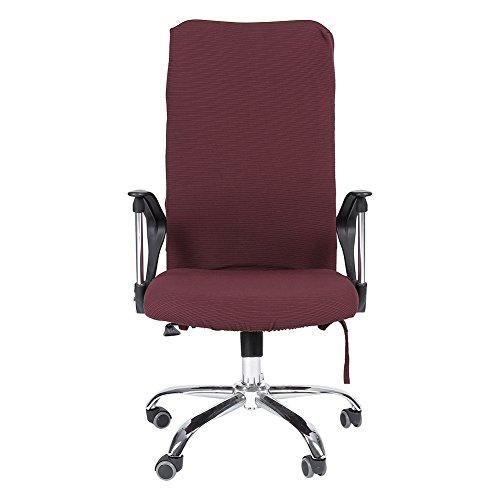 Housse Chaise de Bureau Moderne Style Polyester Amovible Extensible Pivotant Fauteuil Confortable Siège Bureau Ordinateur Étirable Rotatif Couverture Facile à Nettoyer 5 Couleurs(Light Burgundy L)