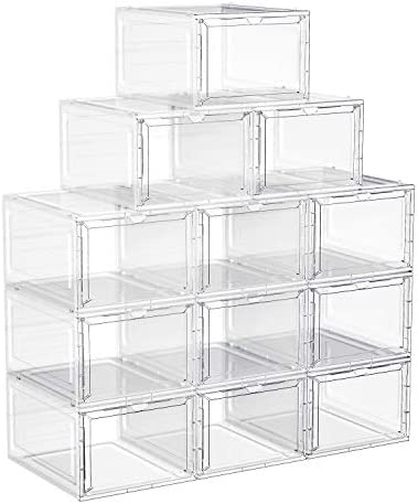 SONGMICS Shoe Boxes Clear Shoe Organizers Set of 12 Plastic Shoe Storage with Clear Door Easy product image