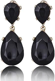 Aashya Mayro Alluring Big Black Color Semi-Precious Crystal Stone Long Smart Trendy Earring for Women Girls