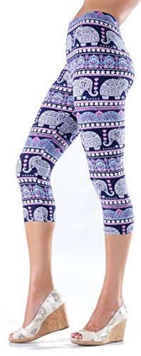 Lush Moda Extra Soft Capri Leggings - Variety of Prints - Elephants Ornament Yoga Waist