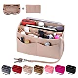 Purse Organizer Insert, Felt Bag organizer with zipper, Handbag & Tote Shaper, Fit LV Speedy, Neverfull, Longchamp, Tote (Slender Large, Beige)