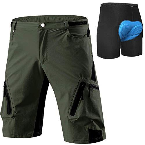 Cycorld MTB Hose Herren Radhose, Schnelltrocknend Mountainbike Hose Fahrradhose mit 4D Sitzpolster, Elastische Outdoor Sport Herren Radlerhose MTB Bike Shorts mit Radunterhose, grün, L