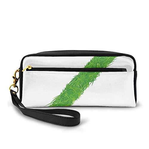 Estuche pequeño de piel sintética, Spring Capital Z hecho de hierba mariquita mariposa margarita manzanilla flores, bolsa de maquillaje bolsa