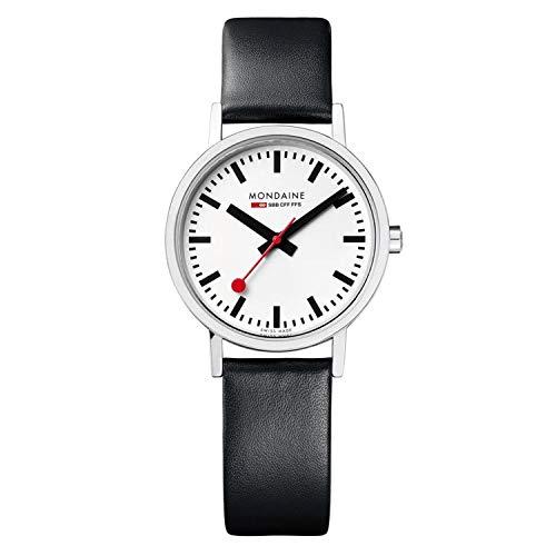 [モンディーン]MONDAINE 腕時計 ニュークラシック ホワイトダイアル ブラックレザーベルト A658.30323.11SBB [正規輸入品]