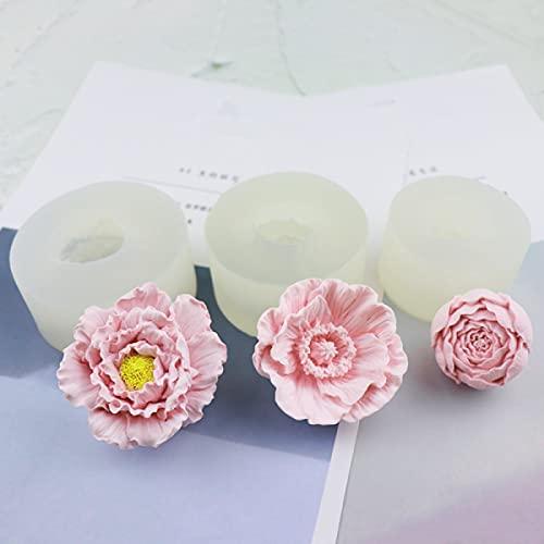 Noa 3 stampi in silicone a forma di fiore, per cioccolatini, dolci, dolci, biscotti, gumdrop gelatina, saponette e candele, decorazione fatta a mano