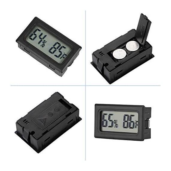 Veanic 4-pack mini digital thermometer hygrometer meters gauge indoor large number display temperature fahrenheit… 5 mini digital humidity thermometer allows you to easily know the environment temperature and humidity around you 2in1 meter with built-in probe; digital electronic thermometer and hygrometer for measuring temperature and humidity for indoor use fahrenheit (℉) display, this thermometer displays temperature in fahrenheit