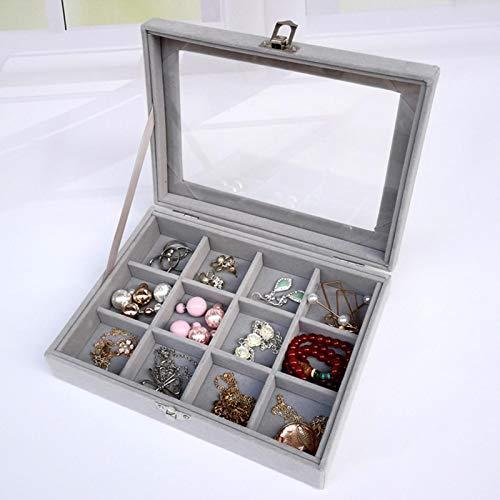 EVENN - Caja organizadora portátil de terciopelo para joyas, para pendientes, caja de almacenamiento A3