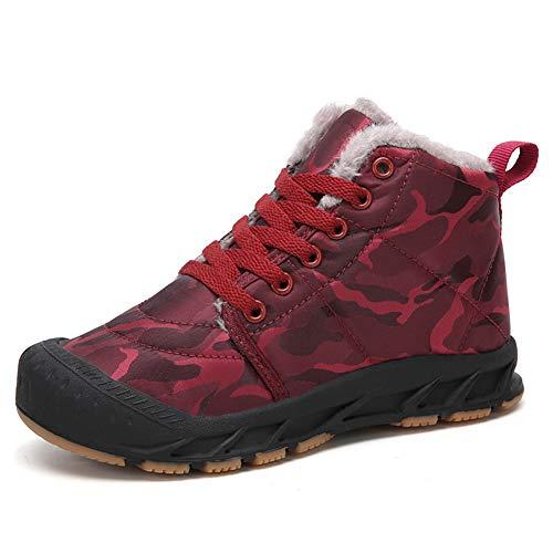 Gaatpot Unisex Niños Botas de Nieve Zapatos de Invierno Moda Botines Calzado Piel sintética Termica Además Otoño Boots Rojo 29EU