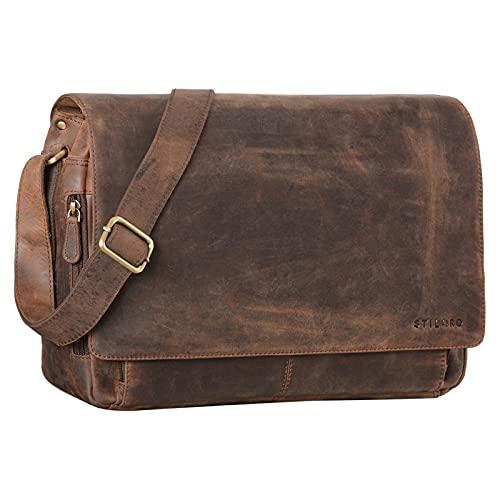 STILORD 'Tom' Vintage Leder Umhängetasche für Studium Uni Büro Arbeit 15 Zoll Laptoptasche DIN A4 Schultertasche Messenger Bag Echtleder, Farbe:Zamora - braun