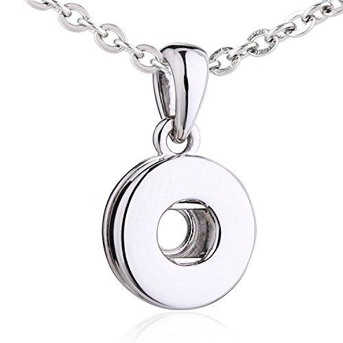 Morella® Damen Träger Halskette nur für SMALL Click-Button 12 mm Ø Edelstahl 50 cm in Samtbeutel