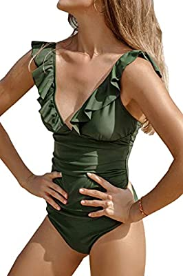 CUPSHE Women's V Neck One Piece Swimsuit Ruffled Lace Up Monokini Green
