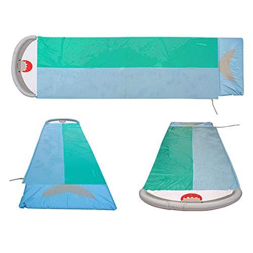 Turtle Story Slide, 18ft Geschwindigkeitsstrahler Wasserrutsche Spaß Wasserrutsche mit aufblasbarem Crash Pad Water Slink-Spray-Sprinker-Pool-Spielzeug-Slip und Gleitwasserrutsche JXNB