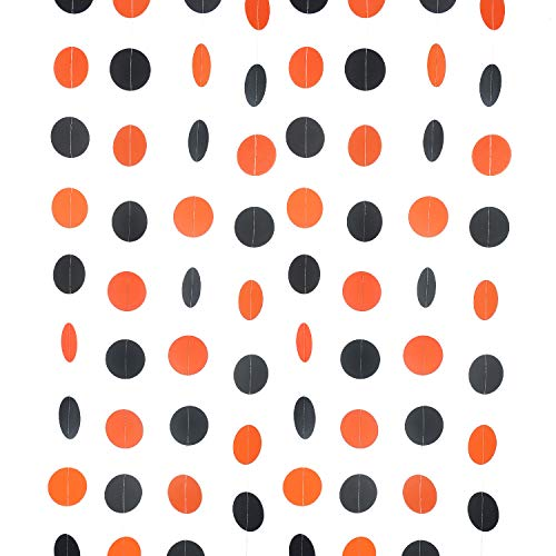 WEVEN Orange Black Circle Garland Paper Garland Party Streamer Banner Backdrop Hanging Decorations Polka Dot Party Supplies, 2' in Diameter, Pack of 3, 30 Feet in Total