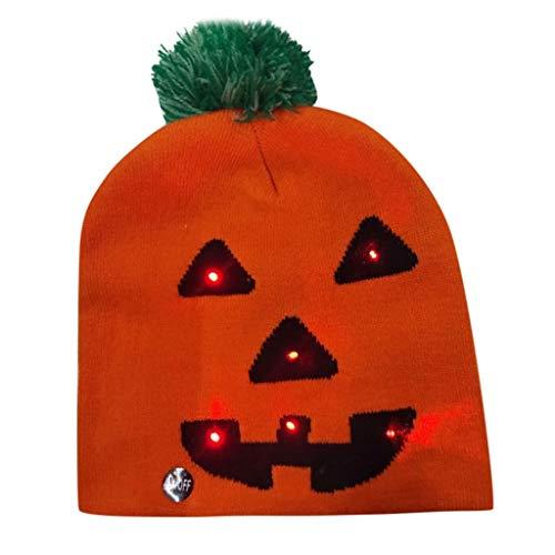 Halloween Hut Damen Bunter Kürbis LED leuchten Knit Hut, MOIKA Unisex Geschenke Hairball warme Kappen Beanie Deko