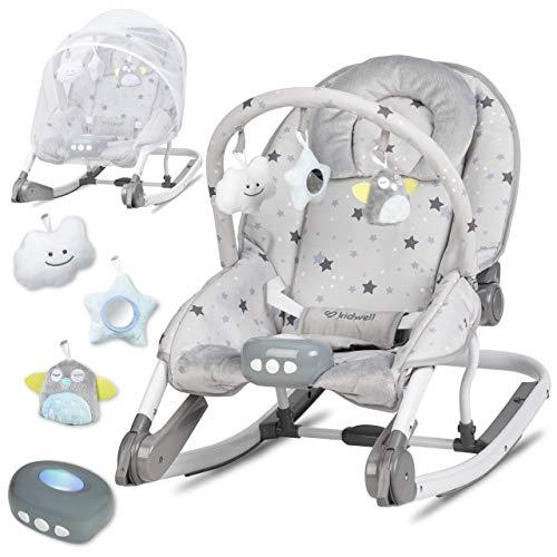 KIDWELL TUMI Multifunktional Babywippe 2in1 | Liege mit Spielbogen & Vibration & Melodien & Licht | ab Geburt bis 18 kg verwendbar | Moskitonetz im Set | Sterne-Muster