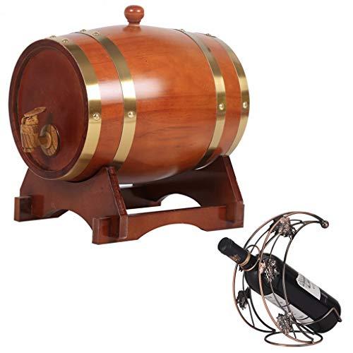 Vintage eiken vat eiken veroudering vat 20L, vintage stijl eiken wijn opslag emmer met een kraan bier wijn whisky honing haven komen met een wijnrek bier houten vat