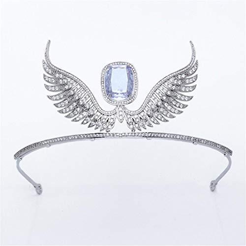 SUIWO Princess Crown Gems Rhinestone Tiara Kid Girl Prom Birthday Prinecess Party Bridal Tiara Large Zircon Crown Angel Wings Bi-wing Shape Personality Headband Accessories (Color : Silver)