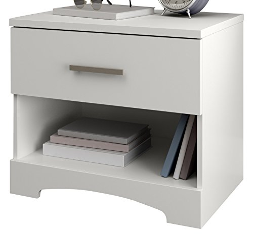 South Shore Gramercy 1-Drawer Nightstand, Pure White with Metal Handle