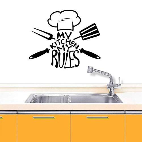 wZUN My Kitchen My Rules Vinilo calcomanía de Pared decoración del hogar Sombrero de Chef extraíble Herramientas de Cocina Mural 63X76cm